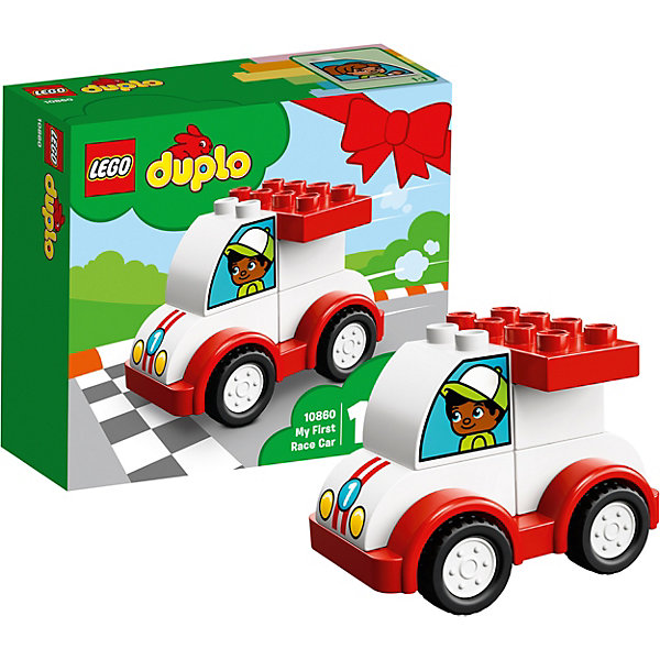 Конструктор LEGO DUPLO 10860: Мой первый гоночный автомобильLEGO<br>Характеристики товара:<br><br>• возраст: от 1,5 лет;<br>• серия LEGO: Duplo;<br>• материал: пластик;<br>• количество деталей: 6 шт.;<br>• в наборе: автомобиль;<br>• размер игрушки: 7х9х6 см;<br>• размер упаковки: 14х15х6 см;<br>• вес упаковки: 120 гр.;<br>• страна бренда: Дания.<br><br>Конструктор LEGO Duplo: «Мой первый гоночный автомобиль» содержит крупные детали, предназначенные для самых маленьких строителей. Собирать кирпичики на подвижной основе интуитивно понятно. Элементы конструктора выполнены в ярких цветах из безопасного и прочного пластика.<br><br>Сборка развивает мелкую моторику, цветовосприятие и внимательность.<br><br>Особенности и функционал:<br><br>• игрушка на колесиках;<br>• на кирпичике с кабиной пассажиров с разных сторон нарисованы фигурки мальчика и девочки;<br>• подходит для использования с другими наборами серии LEGO Duplo.<br><br>Конструктор LEGO Duplo 10860: «Мой первый гоночный автомобиль» можно купить в нашем интернет-магазине.<br>Ширина мм: 148; Глубина мм: 162; Высота мм: 63; Вес г: 124; Возраст от месяцев: 18; Возраст до месяцев: 36; Пол: Мужской; Возраст: Детский; SKU: 7221438;