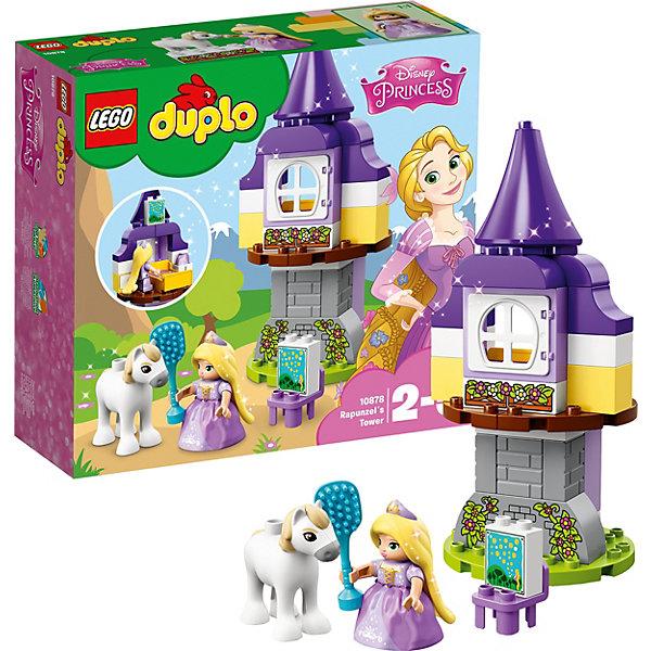 Конструктор LEGO DUPLO 10878: Башня РапунцельLEGO<br>Характеристики товара:<br><br>• возраст: от 2 лет;<br>• серия LEGO: Duplo;<br>• материал: пластик;<br>• количество деталей: 37 шт.;<br>• количество минифигурок: 2;<br>• размер башни: 28х12х12 см;<br>• размер упаковки: 26х28х9 см;<br>• вес упаковки: 590 гр.;<br>• страна бренда: Дания.<br><br>Конструктор LEGO Duplo: «Башня Рапунцель» содержит крупные детали, предназначенные для самых юных строителей. Набор содержит фигурку известной сказочной принцессы и ее лошадки. Игровая сцена с заточением оставляет простор для сюжетов из фантазии ребенка.<br><br>Набор развивает мелкую моторику, воображение и усидчивость. Элементы конструктора выполнены в ярких цветах из безопасного и прочного пластика.<br><br>Особенности и функционал:<br><br>• окно башни открывается;<br>• башню можно собрать несколькими способами.<br><br>Конструктор LEGO Duplo 10878: «Башня Рапунцель» можно купить в нашем интернет-магазине.<br>Ширина мм: 285; Глубина мм: 264; Высота мм: 96; Вес г: 580; Возраст от месяцев: 24; Возраст до месяцев: 60; Пол: Женский; Возраст: Детский; SKU: 7221448;