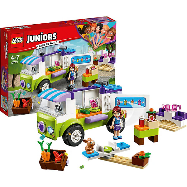 Конструктор LEGO Juniors 10749: Рынок органических продуктовLEGO Juniors<br>Характеристики товара:<br><br>• возраст: от 4 лет;<br>• серия LEGO: Juniors;<br>• материал: пластик;<br>• количество минифигурок: 2;<br>• в наборе: рынок, фургон, яблоко, клубника, вишня, морковь, ящик, чашки, карусель, деньги;<br>• количество деталей: 115 шт.;<br>• размер фургона: 8х14х7 см;<br>• размер упаковки: 19х26х4 см;<br>• вес упаковки: 300 гр.;<br>• страна бренда: Дания.<br><br>Конструктор LEGO Juniors: «Рынок органических продуктов» содержит все необходимые элементы для создания сцены на рынке. Здесь есть овощи и фрукты в ящиках, фургон с коктейлями и зона отдыха. Мия взяла с собой и кролика Твистера.<br><br>Элементы конструктора выполнены в ярких цветах из безопасного и прочного пластика.<br><br>Особенности и функционал:<br><br>• дверь фургона открывается;<br>• рабочие качели;<br>• подходит для использования с другими наборами серии LEGO Juniors.<br><br>Конструктор LEGO Juniors 10749: «Рынок органических продуктов» можно купить в нашем интернет-магазине.<br>Ширина мм: 264; Глубина мм: 192; Высота мм: 48; Вес г: 297; Возраст от месяцев: 48; Возраст до месяцев: 84; Пол: Женский; Возраст: Детский; SKU: 7221452;