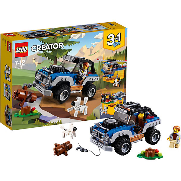 Конструктор LEGO Creator 31075: Приключения в глушиКонструкторы<br>Характеристики товара:<br><br>• возраст: от 7 лет;<br>• серия LEGO: Creator;<br>• материал: пластик;<br>• количество деталей: 225 шт.;<br>• количество минифигурок: 2;<br>• аксессуары в наборе: газовый баллон, ветка, бревно, лопата, молоток;<br>• размер внедорожника: 8х13х8 см;<br>• размер лагеря: 5х13х7 см;<br>• размер вертолета: 8х12х13 см;<br>• размер упаковки: 19х27х6 см;<br>• вес упаковки: 387 гр.;<br>• страна бренда: Дания.<br><br>Из деталей конструктора LEGO Creator: «Приключения в глуши» можно собрать вездеход, вертолет или кемпинг с шлюпкой. Каждая игрушка отлично отражает походную тему с препятствиями.<br><br>Для более интересной игры в наборе есть фигурки путешественника и его собаки. Элементы конструктора детализированы, выполнены в ярких цветах из безопасного и прочного пластика.<br><br>Особенности и функционал:<br><br>• конструктор 3 в 1: внедорожник/кемпинг/вертолет;<br>• пропеллер вертолета крутится;<br>• у машины и вертолета имеется рабочая лебедка с крючком;<br>• в транспорте есть кабина пилота.<br><br>Конструктор LEGO Creator 31075: «Приключения в глуши» можно купить в нашем интернет-магазине.<br>Ширина мм: 264; Глубина мм: 192; Высота мм: 66; Вес г: 386; Возраст от месяцев: 84; Возраст до месяцев: 144; Пол: Мужской; Возраст: Детский; SKU: 7221465;
