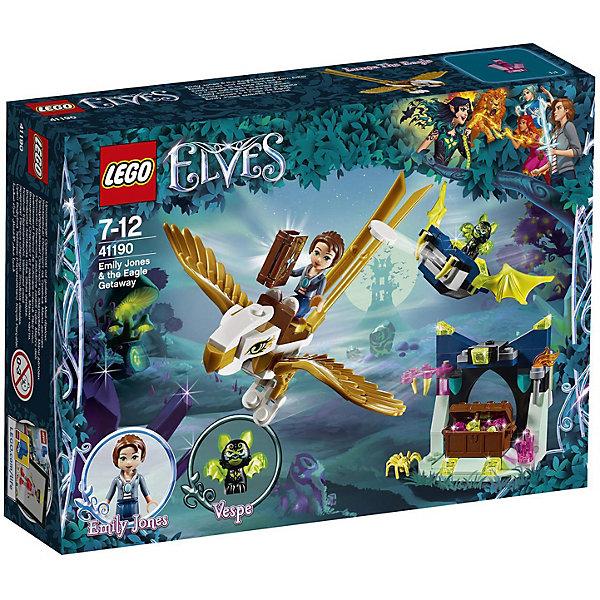 Конструктор LEGO Elves 41190: Побег Эмили на орлеLEGO<br>Характеристики товара:<br><br>• возраст: от 7 лет;<br>• серия LEGO: Elves;<br>• материал: пластик;<br>• количество деталей: 149 шт.;<br>• количество минифигурок: 3;<br>• в наборе: пещера с сундуком, фигура орла, летающая платформа Веспе, книга, книжная страница, амулет, 4 кристалла, стойки, кусок пирога;<br>• размер орла: 5х15х12 см;<br>• размер пещеры: 8х6х5 см;<br>• размер упаковки: 14х19х4 см;<br>• вес упаковки: 148 гр.;<br>• страна бренда: Дания.<br><br>Конструктор LEGO Elves: «Побег Эмили на орле» содержит минифигурки Эмили Джонс, летучей мыши Веспе и коварного паука.<br><br>Собранный конструктор изображает сцену, в которой Эмили исследует содержимое грота и пытается найти утерянную страницу из своей книги. Когда это происходит, Эмили седлает своего орла Люмию, а Веспе начинает за ними погоню на своей крылатой платформе.<br><br>Части набора детализированы. Конструктор выполнен из прочного безопасного пластика.<br><br>Особенности и функционал:<br><br>• сундук в пещере можно повернуть, чтобы открыть тайник;<br>• сверху пещеры есть место для платформы Веспе;<br>• части тела орла подвижны;<br>• платформа Веспе имеет функцию выстрела диском;<br>• подходит для использования с другими наборами серии LEGO Elves.<br><br>Конструктор LEGO Elves 41190: «Побег Эмили на орле» можно купить в нашем интернет-магазине.<br>Ширина мм: 195; Глубина мм: 142; Высота мм: 50; Вес г: 147; Возраст от месяцев: 84; Возраст до месяцев: 144; Пол: Женский; Возраст: Детский; SKU: 7221480;