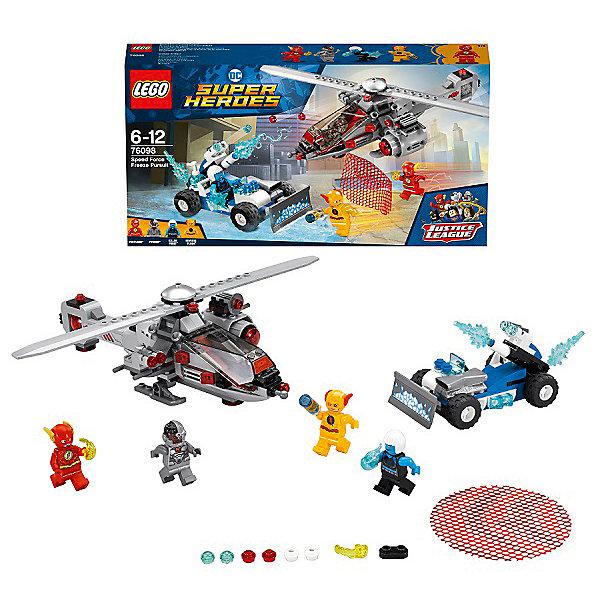 Конструктор LEGO Super Heroes 76098: Скоростная погоняLEGO Super Heroes<br>Характеристики товара:<br><br>• возраст: от 6 лет;<br>• серия LEGO: Super Heroes;<br>• материал: пластик;<br>• количество деталей: 271 шт.;<br>• в наборе: вертолет, автомобиль, инфузор, бластеры, сеть, лед;<br>• количество минифигурок: 4;<br>• размер вертолета: 8х26х12 см;<br>• размер упаковки: 19х35х5 см;<br>• вес упаковки: 436 гр.;<br>• страна бренда: Дания.<br><br>В собранном виде конструктор LEGO Super Heroes: «Скоростная погоня» представляет фигурки Флеша и Киборга, которые пытаются остановить и поймать Антифлеша и Убийцу Фроста с помощью вертолета и сети.<br><br>Набор подходит для создания сюжетных игр, развивает фантазию. Элементы конструктора детализированы, выполнены в ярких цветах из безопасного и прочного пластика.<br><br>Особенности и функционал:<br><br>• кабина вертолета открывается, лопасти вращаются, радар можно снять, есть пушка для метания сети;<br>• конструктор выполнен по мотивам вселенной супергероев DC;<br>• подходит для использования с другими наборами серии LEGO Super Heroes.<br><br>Конструктор LEGO Super Heroes 76098: «Скоростная погоня» можно купить в нашем интернет-магазине.<br>Ширина мм: 354; Глубина мм: 192; Высота мм: 66; Вес г: 436; Возраст от месяцев: 72; Возраст до месяцев: 144; Пол: Мужской; Возраст: Детский; SKU: 7221515;