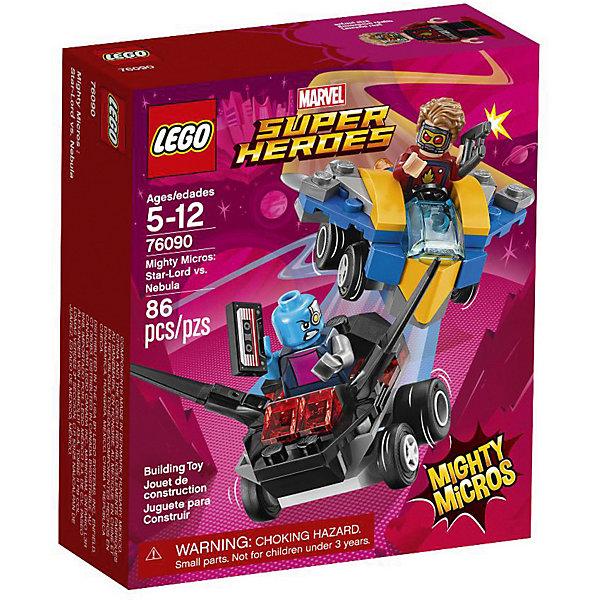 Конструктор LEGO Super Heroes 76090: Mighty Micros: Звёздный Лорд против НебулыLEGO Super Heroes<br>Характеристики товара:<br><br>• возраст: от 5 лет;<br>• серия LEGO: Super Heroes;<br>• материал: пластик;<br>• количество деталей: 86 шт.;<br>• в наборе: звездолеты, бластеры, кассета;<br>• количество минифигурок: 2;<br>• размер машинки: 3х5х7 см;<br>• размер упаковки: 14х12х4 см;<br>• вес упаковки: 88 гр.;<br>• страна бренда: Дания.<br><br>В собранном виде конструктор LEGO Super Heroes: «Звездный Лорд против Небулы» представляет две машины с фигурками известных персонажей, которым предстоит сразиться на дороге, в воздухе или в ближнем бою. <br><br>Элементы конструктора детализированы, выполнены в ярких цветах из безопасного и прочного пластика.<br><br>Особенности и функционал:<br><br>• двусторонняя голова Звездного Лорда;<br>• звездолет Небулы усилен по бокам;<br>• конструктор выполнен по мотивам вселенной супергероев Marvel;<br>• подходит для использования с другими наборами серии LEGO Super Heroes.<br><br>Конструктор LEGO Super Heroes 76090: Mighty Micros: «Звездный Лорд против Небулы» можно купить в нашем интернет-магазине.<br>Ширина мм: 145; Глубина мм: 122; Высота мм: 47; Вес г: 86; Возраст от месяцев: 60; Возраст до месяцев: 144; Пол: Мужской; Возраст: Детский; SKU: 7221528;