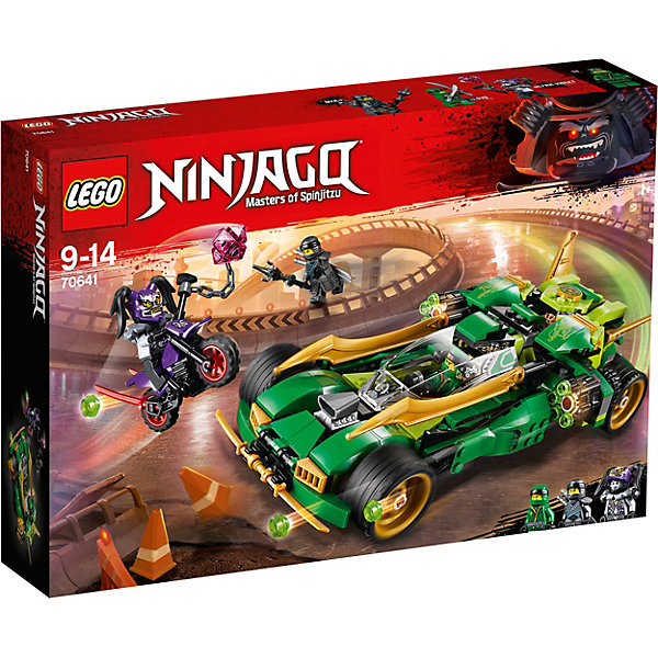 Конструктор LEGO Ninjago 70641: Ночной вездеход ниндзяLEGO NINJAGO<br>Характеристики товара:<br><br>• возраст: от 9 лет;<br>• серия LEGO: Ninjago;<br>• материал: пластик;<br>• количество деталей: 552 шт.;<br>• количество минифигурок: 3;<br>• в наборе: ночной вездеход Ллойда, байк Ультрафиолеты, булава с цепью, маска ненависти, 2 катаны Ллойда, катана Нии, катана Ультрафиолет, копье, 12 снарядов для пушек;<br>• размер вездехода: 8х25х13 см;<br>• размер упаковки: 26х38х7 см;<br>• вес упаковки: 734 гр.;<br>• страна бренда: Дания.<br><br>Собранный конструктор LEGO Ninjago: «Ночной вездеход ниндзя» представляет сцену, в которой Ния и Ллойд гонятся за Ультрфиолетой, укравшей маску ненависти.<br><br>Для сюжетной игры в наборе есть все необходимое: 3 фигурки героев, мощная машина-вездеход с боевыми функциями и черно-фиолетовый байк врага. Набор выполнен из прочного безопасного пластика.<br><br>Особенности и функционал:<br><br>• кабина пилота у вездехода открывается, имеется крепление для катан;<br>• у машины по бокам есть откидные лезвия и пушки;<br>• для выстрела из пушки нужно нажать на кнопку на крыше;<br>• подходит для использования с другими наборами серии LEGO Ninjago.<br><br>Конструктор LEGO Ninjago 70641: «Ночной вездеход ниндзя» можно купить в нашем интернет-магазине.<br>Ширина мм: 385; Глубина мм: 264; Высота мм: 76; Вес г: 740; Возраст от месяцев: 108; Возраст до месяцев: 168; Пол: Мужской; Возраст: Детский; SKU: 7221547;