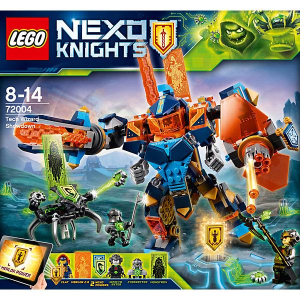 Конструктор LEGO Nexo Knights 72004: Решающая битва роботовLEGO NEXO KNIGHTS<br>Характеристики товара:<br><br>• возраст: от 8 лет;<br>• серия LEGO: Nexo Knights;<br>• материал: пластик;<br>• количество деталей: 506 шт.;<br>• в наборе: робот Клэя, робот-паук, меч, щит, секира, критер;<br>• количество минифигурок: 3;<br>• размер робота Клэя: 10х12х7 см;<br>• размер упаковки: 26х28х5 см;<br>• вес упаковки: 614 гр.;<br>• страна изготовитель: Дания.<br><br>Конструктор LEGO Nexo Knights: «Решающая битва роботов» представляет сцену сражения лидера Нексо-рыцарей против преспешников Монстрокса, которые заражают все вокруг опасным вирусом. Главным оружием соперников станут функциональные роботы.<br><br>Набор открывает простор для фантазии ребенка. Элементы конструктора детализированы, выполнены в ярких цветах из безопасного и прочного пластика.<br><br>Особенности и функционал:<br><br>• подвижные части тела у робота Клэя, имеется кабина пилота;<br>• меч робота вращается, пулемет стреляет;<br>• робот-паук стреляет вирусом;<br>• в робот Клэя встроен съемный робот меньшего размера;<br>• имеются 3 щита NEXO-сил: «Вихрь», «Драконьи Джунгли», «Меч Мерлока»;<br>• подходит для использования с другими наборами серии LEGO Nexo Knights.<br><br>Конструктор LEGO Nexo Knights 72004: «Решающая битва роботов» можно купить в нашем интернет-магазине.<br>Ширина мм: 285; Глубина мм: 262; Высота мм: 65; Вес г: 613; Возраст от месяцев: 96; Возраст до месяцев: 168; Пол: Мужской; Возраст: Детский; SKU: 7221553;