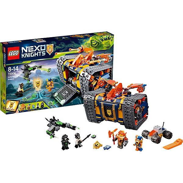 Конструктор LEGO Nexo Knights 72006: Мобильный арсенал АкселяLEGO NEXO KNIGHTS<br>Характеристики товара:<br><br>• возраст: от 8 лет;<br>• серия LEGO: Nexo Knights;<br>• материал: пластик;<br>• количество деталей: 604 шт.;<br>• в наборе: мобильный арсенал Акселя, ловушка для критеров, флайер Джестро, глайдер Байтеров, щит, копье, шлем;<br>• количество минифигурок: 4;<br>• размер арсенала: 13х15х22 см;<br>• размер упаковки: 28х48х6 см;<br>• вес упаковки: 966 гр.;<br>• страна бренда: Дания.<br><br>Конструктор LEGO Nexo Knights: «Мобильный арсенал Акселя» представляет сцену сражения Джестро и Акселя против Байтеров, которые повсюду распространяют опасный вирус. Фигурки оснащены оружием и функциональной техникой для борьбы.<br><br>Набор открывает простор для фантазии ребенка. Элементы конструктора детализированы, выполнены в ярких цветах из безопасного и прочного пластика.<br><br>Особенности и функционал:<br><br>• ворота арсенала открываются, внутри внедорожник и оружие;<br>• есть два отсека для пилотов;<br>• пушки арсенала стреляют;<br>• летающая машина Байтеров стреляет вирусами;<br>• имеются 3 щита: «Держи ритм», «Бурные аплодисменты», «Топор Мерлока»;<br>• подходит для использования с другими наборами серии LEGO Nexo Knights.<br><br>Конструктор LEGO Nexo Knights 72006: «Мобильный арсенал Акселя» можно купить в нашем интернет-магазине.<br>Ширина мм: 482; Глубина мм: 282; Высота мм: 68; Вес г: 964; Возраст от месяцев: 96; Возраст до месяцев: 168; Пол: Мужской; Возраст: Детский; SKU: 7221555;
