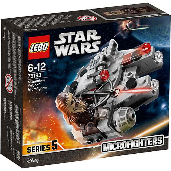 LEGO Star Wars 75193: Микрофайтер «Сокол Тысячелетия»Конструкторы<br>Характеристики товара:<br><br>• возраст: от 6 лет;<br>• серия LEGO: Star Wars;<br>• материал: пластик;<br>• количество деталей: 92 шт.;<br>• количество минифигурок: 1;<br>• размер упаковки: 7х12х14 см;<br>• страна производитель: Чехия, Дания.<br><br>Микрофайтер схож по конструкции с оригинальным большим Соколом Тысячелетия. Он небольшой, а значит очень манёвренный. Мы уже встречались с ним ранее в другом наборе Лего.<br><br>Новый микрофайтер выглядит более детализировано и привлекательно. В передней части корпуса находятся два пружинных шутера. При нажатии на них они выстреливают двумя небольшими красными детальками.<br><br>С правой стороны микройфайтера расположено сидение пилота, за которое можно усадить минифигурку Чубакки. <br><br>В набор входит:<br><br>• 92 детали;<br>• 1 минифигурка;<br>• микрофайтер Сокол Тысячелетия;<br>арбалет.<br><br>Особенности и игровой функционал:<br><br>• небольшую конструкцию удобно держать в руке;<br>• 2 стреляющие пушки на корпусе микрофайтера;<br>• фигурку Чубакки можно усадить на сидение пилота.<br><br>LEGO Star Wars 75193: Микрофайтер «Сокол Тысячелетия» можно купить в нашем интернет-магазине.<br>Ширина мм: 144; Глубина мм: 124; Высота мм: 50; Вес г: 109; Возраст от месяцев: 72; Возраст до месяцев: 144; Пол: Мужской; Возраст: Детский; SKU: 7221573;