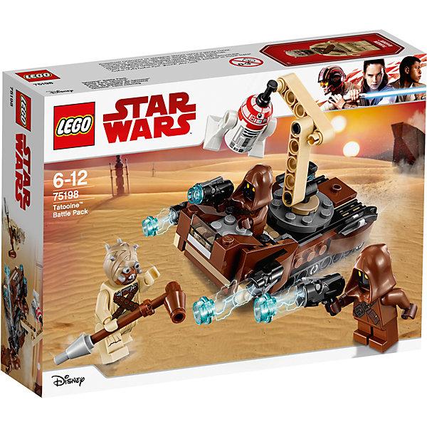 LEGO Star Wars 75198: Боевой набор планеты ТатуинЗвездные войны<br>Характеристики товара:<br><br>• возраст: от 6 лет;<br>• серия LEGO: Star Wars;<br>• материал: пластик;<br>• количество деталей: 97 шт.;<br>• количество минифигурок: 4;<br>• размер упаковки: 7 х 19 х 14 см;<br>• страна производитель: Чехия, Дания.<br><br>Набор состоит из 97 деталей и включает 4 минифигурки. Воссоздайте битву за дрона из вселенной Звездных войн с этим небольшим замечательным набором.<br><br>Джавы – это скрывающие свой внешний вид за балахонами разумные существа с планеты Татуин, которые чинят всевозможную технику. Они бороздили пески на своем специальном транспортном средстве, когда вдруг наткнулись на дрона.<br><br>Транспортное средство можно собрать из коричневых, бежевых, серых и черных деталей набора. Помимо перевозки служебный автомобиль Джав умеет захватывать груз. Он оснащен специальным краном, который вращается на 360 градусов и очень подвижен. На конце у него расположена специальная деталь, которая идеально подходит к углублению на голове дрона.<br><br>Особенности:<br><br>• 2 стреляющие пушки на корпусе транспортного средства;<br>• вращающийся и подвижный кран;<br>• минифигурку одного из Джав можно усадить на сидение водителя;<br>• бластерные пистолеты стреляют при нажатии.<br><br>LEGO Star Wars 75198: Боевой набор планеты Татуин можно купить в нашем интернет-магазине.<br>Ширина мм: 191; Глубина мм: 46; Высота мм: 141; Вес г: 150; Возраст от месяцев: 72; Возраст до месяцев: 144; Пол: Мужской; Возраст: Детский; SKU: 7221578;