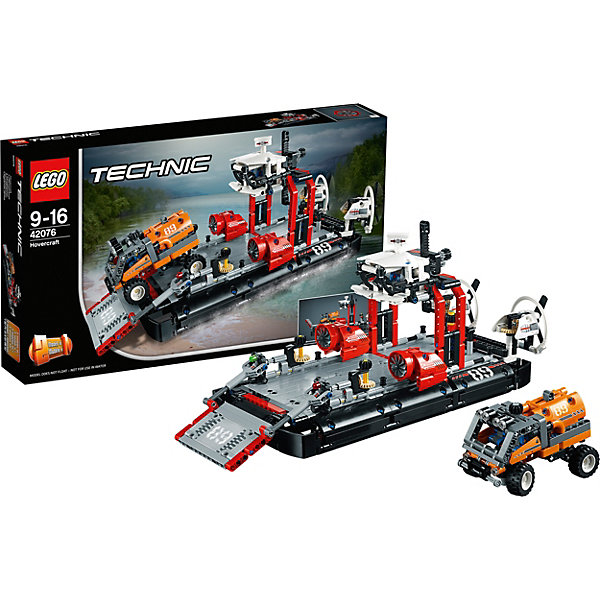 Конструктор LEGO Technic 42076: Корабль на воздушной подушкеКонструкторы<br>Характеристики товара:<br><br>• возраст: от 9 лет;<br>• серия LEGO: Technic;<br>• материал: пластик;<br>• количество деталей: 1020 шт.;<br>• размер судна: 20х40х16 см;<br>• размер упаковки: 28х48х7 см;<br>• вес упаковки: 1,37 кг.;<br>• страна изготовитель: Дания.<br><br>Из деталей конструктора LEGO Technic: «Корабль на воздушной подушке» можно собрать грузовое судно, которое перевозит экспедиционный грузовик. Модель детализирована, имеются подробные наклейки. Кроме того, из конструктора можно собрать реактивную лодку. Набор выполнен из качественного безопасного пластика.<br><br>Особенности и функционал:<br><br>• конструктор 2 в 1: судно на воздушной подушке/реактивная лодка;<br>• есть экспедиционный грузовик со съемным грузовым контейнером;<br>• вращающиеся задние вентиляторы;<br>• рабочее рулевое управление;<br>• функциональные рампа и подъемный кран.<br><br>Конструктор LEGO Technic 42076: «Корабль на воздушной подушке» можно купить в нашем интернет-магазине.<br>Ширина мм: 482; Глубина мм: 284; Высота мм: 81; Вес г: 1382; Возраст от месяцев: 108; Возраст до месяцев: 192; Пол: Мужской; Возраст: Детский; SKU: 7221586;