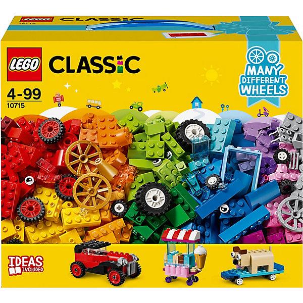 Конструктор LEGO Classic 10715: Модели на колёсахLEGO<br>Характеристики товара:<br><br>• возраст: от 4 лет;<br>• серия LEGO: Classic;<br>• материал: пластик;<br>• размер упаковки: 22х26х14 см;<br>• вес упаковки: 766 гр.;<br>• страна бренда: Дания.<br><br>Конструктор LEGO Classic: «Модели на колесах» предназначен для сборки разнообразного транспорта, сооружений и предметов. Сборка осуществляется как по инструкции, так и не ограничена фантазией ребенка. Кирпичи, колеса, глаза и формы позволят создать уникальную игрушку.<br><br>Набор развивает мелкую моторику, воображение и усидчивость ребенка. Элементы конструктора выполнены в ярких цветах из безопасного и прочного пластика.<br><br>Особенности и функционал:<br><br>• в наборе понятные инструкции по строительству;<br>• подходит для использования с другими наборами серии LEGO Classic.<br><br>Конструктор LEGO Classic 10715: «Модели на колесах» можно купить в нашем интернет-магазине.<br>Ширина мм: 265; Глубина мм: 223; Высота мм: 147; Вес г: 765; Возраст от месяцев: 48; Возраст до месяцев: 144; Пол: Мужской; Возраст: Детский; SKU: 7221595;