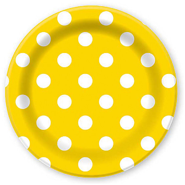 Патибум Тарелки Горошек жёлтый 23 см. ламинированные, 6 шт.