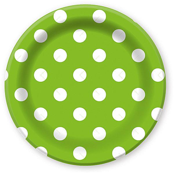 Патибум Тарелки Горошек зелёный 23 см. ламинированные, 6 шт.