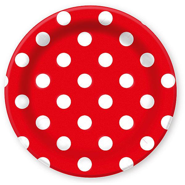 Патибум Тарелки Горошек. Красный 23 см бумажные ламинированные, 6 шт.