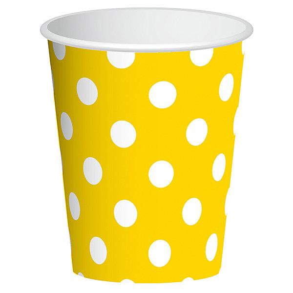 Стаканы Патибум Горошек жёлтый 250 мл., 6 шт.Стаканы<br>Характеристики:<br><br>• возраст: от 3 лет;<br>• тип игрушки: стаканы;<br>• количество: 6 шт;<br>• объем: 250 мл;<br>• цвет: желтый;<br>• вес: 38  гр;<br>• размеры: 7,5х13х24,5 см;<br>• материал: бумага;<br>• бренд: Патибум;<br>• страна производитель: Россия.<br><br>Стаканы бумажные «Горошек Желтый» 6шт подойдут для организации детской вечеринки, дня рождения и других праздников. Стаканы выполнены из бумаги и имеют объем 250 мл. Они имеют расцветку в крупный горошек. Данные тарелки входят в состав коллекции праздничной одноразовой посуды «Горошек Желтый» и лучше всего их использовать для сервировки праздничного стола вместе с другими элементами из этой коллекции.<br><br>Изделия выполнены из качественных материалов, предназначенных для детей возрастом от трех лет. Такая посуда в виде стаканчиков станет отличным дополнением праздничного настроения. А эта  расцветка понравится и мальчикам, и девочкам.<br> <br>Стаканы бумажные «Горошек Желтый» 6шт можно купить в нашем интернет-магазине.<br>Ширина мм: 75; Глубина мм: 130; Высота мм: 245; Вес г: 38; Возраст от месяцев: 36; Возраст до месяцев: 2147483647; Пол: Унисекс; Возраст: Детский; SKU: 7224699;