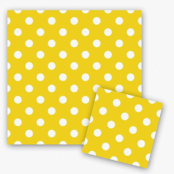 Патибум Салфетки Горошек жёлтый 33х33 см., 12 шт.