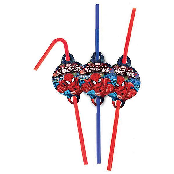 Патибум Трубочки для коктейля Патибум Человек-паук 6 шт. трубочки для коктейлей фарт с изгибом гофрированные 260 х 6 мм 80 шт