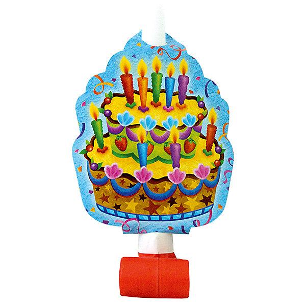 Патибум Язычок-гудок Праздничный торт с карточкой, 6 шт.