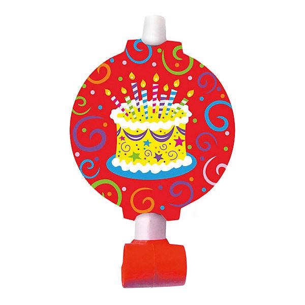 Патибум Язычок-гудок Патибум Торт яркийс карточкой, 6 шт. праздничные аксессуары веселая затея язычок гудок h birthday торт набор 6 шт в блистере