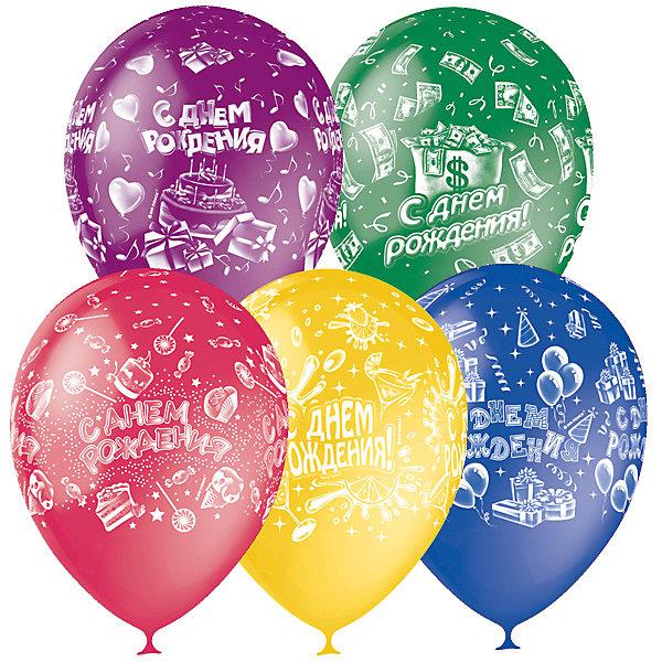 Купить Воздушные шары Latex Occidental С днём рождения 25 шт., пастель + декоратор, Мексика, Унисекс