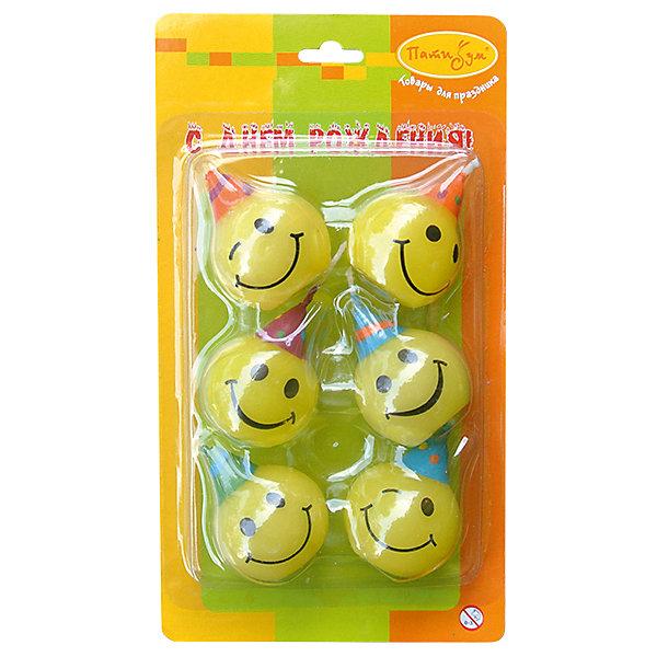 Свечи для торта Патибум Смешные лица 6 шт.Детский День рождения для мальчика<br>Характеристики:<br><br>• возраст: от 3 лет;<br>• тип игрушки: свеча;<br>• вес: 29 гр;<br>• количество: 6 шт;<br>• размеры: 1,5х5,5х12 см;<br>• материал: парафин;<br>• бренд: Патибум; <br>• страна производитель: Россия.<br><br>MC Свечи «Смешные лица» 6шт -  это свечки для торта, выполняющие декоративную функцию.  Оригинальные свечи в виде смешных мордочек хорошо использовать для украшения праздничного стола, также ими можно украсить торт или десерт на День рождения. Свечи для торта отличаются высоким качеством, они не вредны для детей от трех  лет и, конечно же, их можно использовать с продуктами. Температура хранения и транспортировки от -10 до +25С. <br><br>Вместе с этой свечкой из натурального парафина можно использовать и другие из этой серии. Этот набор свечек из 6 штук. Они легко устанавливаются в торт и вынимаются. Красивые свечки станут отличным дополнением праздника.<br><br>MC Свечи «Смешные лица» 6шт можно купить в нашем интернет-магазине.<br>Ширина мм: 20; Глубина мм: 95; Высота мм: 170; Вес г: 83; Возраст от месяцев: 36; Возраст до месяцев: 2147483647; Пол: Унисекс; Возраст: Детский; SKU: 7224815;