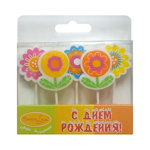 Свечи для торта Патибум Цветы 5 шт.День рождения Феи<br>Характеристики:<br><br>• возраст: от 3 лет;<br>• тип игрушки: свеча;<br>• количество: 5 шт;<br>• вес: 28 гр;<br>• размеры: 1,5х5,5х20 см;<br>• материал: парафин;<br>• бренд: Патибум; <br>• страна производитель: Россия.<br><br>MC Свечи «Цветы» 5шт -  это свечки для торта, выполняющие декоративную функцию.  Оригинальные свечи в виде цветочков хорошо использовать для украшения праздничного торта или десерта на День рождения и другие праздники.  Свечи для торта отличаются высоким качеством, они не вредны для детей от трех  лет и, конечно же, их можно использовать с продуктами. Температура хранения и транспортировки от -10 до +25С. <br><br>Вместе с этой свечкой из натурального парафина можно использовать и другие из этой серии. Этот набор свечек из 5 штук подходит для мальчиков и девочек. Красивые свечки станут отличным дополнением праздника. Они легко устанавливаются в торт и вынимаются.<br><br>MC Свечи «Цветы» 5шт  можно купить в нашем интернет-магазине.<br>Ширина мм: 15; Глубина мм: 55; Высота мм: 120; Вес г: 28; Возраст от месяцев: 36; Возраст до месяцев: 2147483647; Пол: Женский; Возраст: Детский; SKU: 7224816;