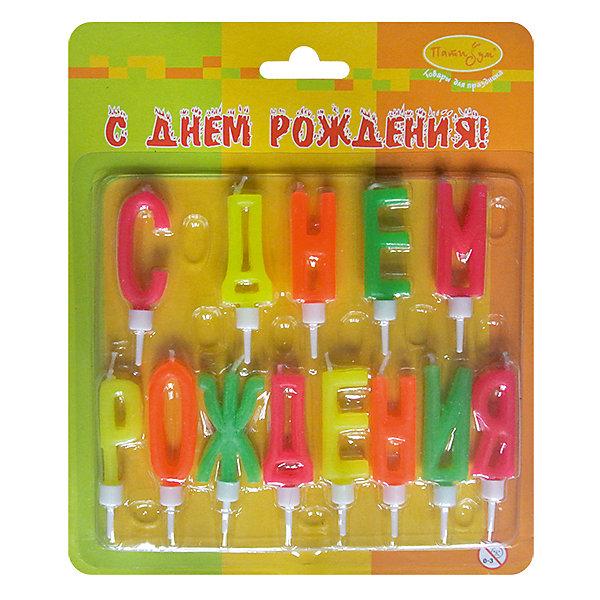 Свечи-буквы для торта Патибум С Днём Рождения с держателями, 4 см., неоновыеДетские свечи для торта<br>Характеристики:<br><br>• возраст: от 3 лет;<br>• тип игрушки: свеча;<br>• вес: 42 гр;<br>• размеры: 1,5х5,5х20 см;<br>• материал: парафин;<br>• бренд: Патибум; <br>• страна производитель: Россия.<br><br>MC Свечи-буквы неоновые «С Днем Рождения» с держателями 4см -  это свечки для торта, выполняющие декоративную функцию.  Оригинальные свечи с надписью хорошо использовать для украшения праздничного торта или десерта на День рождения.  Свечи для торта отличаются высоким качеством, они не вредны для детей от трех  лет и, конечно же, их можно использовать с продуктами. Температура хранения и транспортировки от -10 до +25С. <br><br>Вместе с этой свечкой из натурального парафина можно использовать и другие из этой серии. Этот набор свечек подходит для мальчиков и девочек. Красивые свечки станут отличным дополнением праздника. Они легко устанавливаются в торт и вынимаются.<br><br>MC Свечи-буквы неоновые «С Днем Рождения» с держателями 4см можно купить в нашем интернет-магазине.<br>Ширина мм: 15; Глубина мм: 55; Высота мм: 120; Вес г: 42; Возраст от месяцев: 36; Возраст до месяцев: 2147483647; Пол: Унисекс; Возраст: Детский; SKU: 7224818;