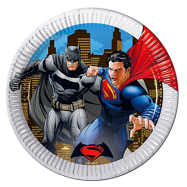 Тарелки Procos Бэтмен против Супермена 23 см. ламинированные, 8 шт., металликТарелки<br>Характеристики:<br><br>• возраст: от 3 лет;<br>• тип игрушки: тарелки;<br>• количество: 8 шт;<br>• размер тарелки: 20 см;<br>• вес: 64 гр;<br>• размеры: 20х20х0,5 см;<br>• материал: бумага;<br>• бренд: Патибум;<br>• страна производитель: Россия.<br><br>Тарелки бумажные ламинированные «Бэтмен против Супермена» 8шт подойдут для организации детской вечеринки, дня рождения и других праздников. Круглые тарелки выполнены из бумаги и имеют размер 20 см. Одноразовая посуда ламинирована для большей прочности. На них изображены яркие картинки. Данные тарелки входят в состав коллекции праздничной одноразовой посуды с изображением героев. Для стильного праздника можно использовать также другую посуду из этой серии в одной цветовой гамме.<br><br>Изделия выполнены из качественных материалов, предназначенных для детей возрастом от трех лет. Такая посуда в виде тарелочек станет отличным дополнением праздничного настроения. А эта  расцветка понравится особенно  мальчикам, увлеченным этим героем.<br> <br>Тарелки бумажные ламинированные «Бэтмен против Супермена» 8шт можно купить в нашем интернет-магазине.<br>Ширина мм: 230; Глубина мм: 230; Высота мм: 5; Вес г: 64; Возраст от месяцев: 36; Возраст до месяцев: 2147483647; Пол: Мужской; Возраст: Детский; SKU: 7224850;
