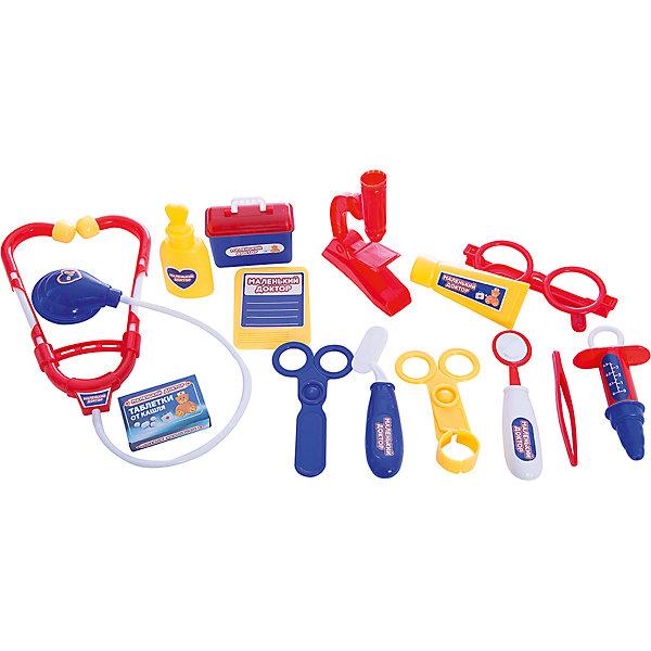 Игровой набор Abtoys Маленький доктор, 14 предметовНаборы доктора и ветеринара<br>Характеристики:<br><br>• тип игрушки: игровой набор;<br>• комплектация: стетоскоп, градусник, шприц, пинцет, а также щипцы, лекарства, мерную ложечку и т.д.;<br>• возраст: от 3 лет;<br>• размер: 27х6х24 см;<br>• бренд: Abtoys;<br>• упаковка: удобный чемоданчик с ручкой и защелкой;<br>• материал: пластик.<br><br>Набор доктора из серии «Маленький доктор» из четырнадцати предметов в чемодане от бренда ABtoys - это оптимальное решение для организации самых разных ролевых игр ребенка. Набор с большим количеством аксессуаров обязательно увлечет ребенка и подарит ему очень много ярких впечатлений. Ребенок сможет разыграть огромное количество сценок, которые до этого видел в реальной жизни.<br><br>Игровой набор состоит из таких предметов, как стетоскоп, градусник, шприц, пинцет, а также щипцы, лекарства, мерную ложечку и т.д. Чемодан герметично закрывается, имеет компактные размеры и удобную ручку, что позволяет всюду брать его с собой. Набор позволит расширить рамки сюжетно-ролевых игр, формируя у детей заботливое отношение к другим людям и чувство ответственности.<br><br>Весь набор сделан из прочного и качественного пластика, который прошел все необходимые проверки и соответствует стандартам качества, необходимым для производства товаров для детей.<br><br>Набор доктора из серии «Маленький доктор» из четырнадцати предметов в чемодане от бренда ABtoys можно купить в нашем интернет-магазине.<br>Ширина мм: 270; Глубина мм: 60; Высота мм: 240; Вес г: 42; Возраст от месяцев: 36; Возраст до месяцев: 144; Пол: Унисекс; Возраст: Детский; SKU: 7225156;