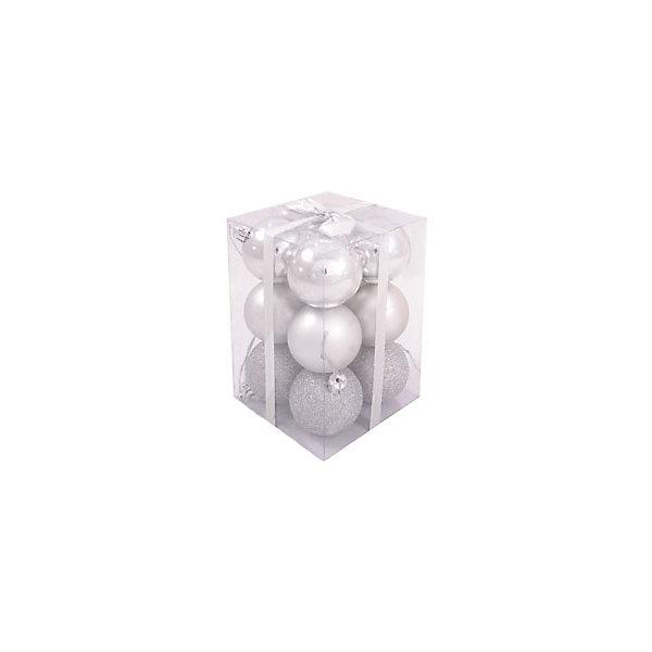 Волшебная Страна Набор елочных шаров Magic Land 12 шт, 4 см (серебро)
