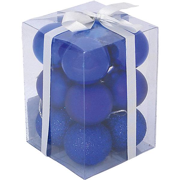 Волшебная страна Набор елочных шаров Magic Land 12 шт, 6 см (синие)