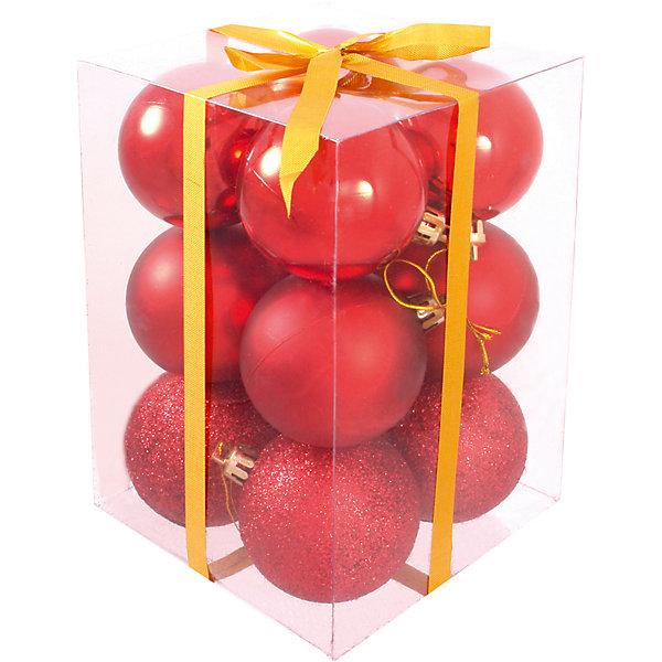 Волшебная Страна Набор елочных шаров Magic Land 12 шт, 6 см (красные)