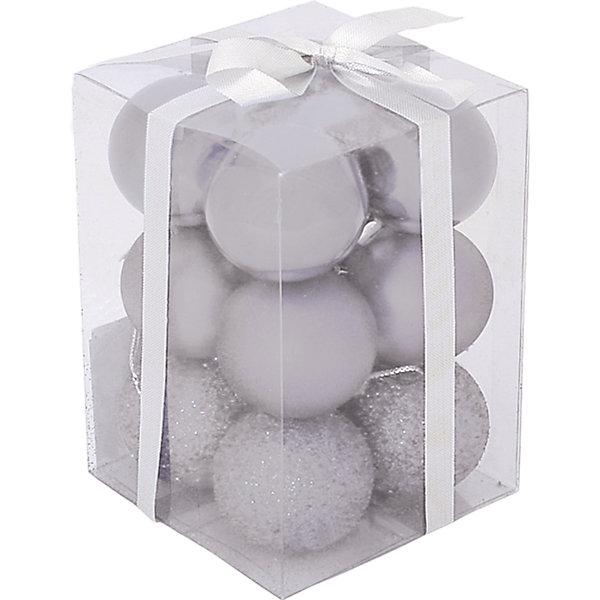 Волшебная Страна Набор елочных шаров Magic Land 12 шт, 6 см (серебро)