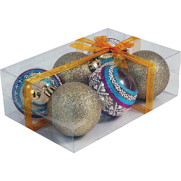 Волшебная страна Набор елочных шаров Magic Land 6 шт, 6 см (золотые)