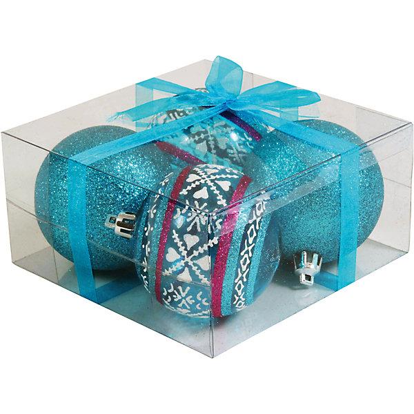 Волшебная страна Набор елочных шаров Magic Land 4 шт, 7 см (синие)