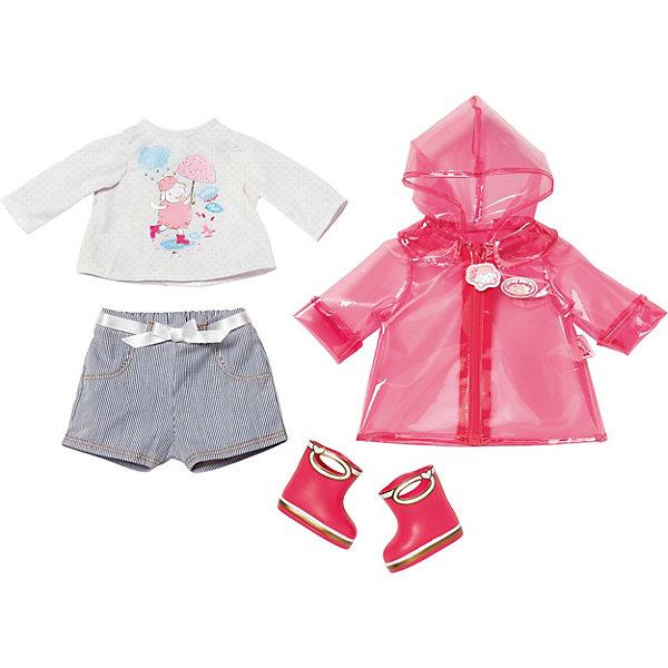 Одежда Baby Annabell для дождливой погодыОдежда для кукол<br>Характеристики:<br><br>• возраст: от 3 лет;<br>• материал: текстиль, резина;<br> • комплектация:  курточка, штанишки, футболочка, сапожки;<br>• размер: 10x10x10см;<br>• страна бренда: Германия;<br>• бренд: Zapf Creation.<br> <br>Игрушка Baby Annabell Одежда для дождливой погоды понравится девочкам и прекрасно подойдет для прогулок с любимым пупсом в дождливую погоду. Фирменный комплект включает в себя курточку с капюшоном, футболку, штанишки и резиновые сапожки. Благодаря особому вниманию к мельчайшим деталям одежду удобно одевать и снимать, поэтому ребенок будет с удовольствием переодевать своего пупса.<br><br>В таком ярком и модном костюмчике куколка будет выглядеть как настоящий малыш, а замечательные сапожки помогут сохранить ее ножки сухими во время прогулки. Симпатичный комплект займет достойное место в гардеробе куклы Baby Born.<br><br>Игрушку Baby Annabell Одежда для дождливой погоды можно купить в нашем интернет-магазине.<br>Ширина мм: 405; Глубина мм: 363; Высота мм: 86; Вес г: 565; Возраст от месяцев: 36; Возраст до месяцев: 72; Пол: Женский; Возраст: Детский; SKU: 7225386;