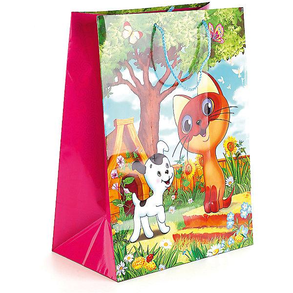 Веселый праздник Пакет подарочный дизайн  Котенок Гав глянцевый 33Х46Х20 см