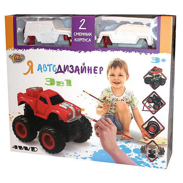 Набор для творчества 3 в 1 Yako Toys Я автодизайнер, M6540-2Автомобили<br>Набор с полноприводной машинкой и 2-мя корпусами под раскраску. В состав набора входит набор красок (5 цветов) на водной основе. 2 кисточки и стаканчик. В состав набора включены 2 сменных корпуса, что позволяет изменить внешний облик игрушки. Смена корпуса производится с помощью нажатия на кнопку, расположенную сзади на базовой части машины.Машина имеет особую конструкцию, предполагающую связь всех 4-х колёс и мощный инерционный механизм. Тип инерционного механизма - фрикционный (т.е. машину можно разогнать сделав несколько поступательных движений, прижимая её к поверхности). При постановке машины на дыбы (вертикально на задних колёсах) она вращается вокруг своей оси. Кроме того, машина снабжена механизмом смены корпуса.<br>Ширина мм: 254; Глубина мм: 66; Высота мм: 220; Вес г: 346; Возраст от месяцев: 36; Возраст до месяцев: 2147483647; Пол: Мужской; Возраст: Детский; SKU: 7226060;
