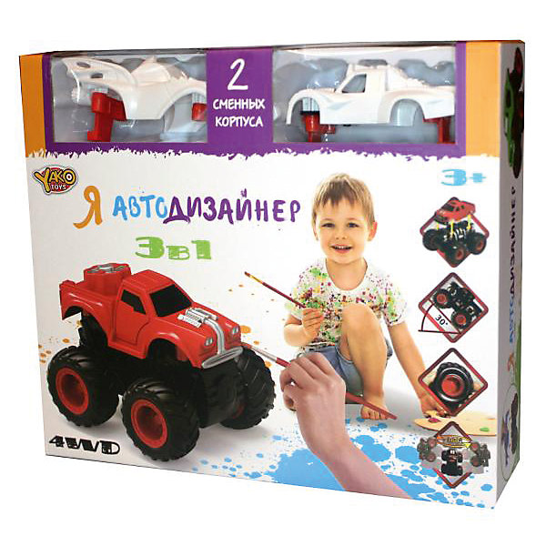 Набор для творчества 3 в 1 Yako Toys Я автодизайнер, M6540-4Автомобили<br>Набор с полноприводной машинкой и 2-мя корпусами под раскраску. В состав набора входит набор красок (5 цветов) на водной основе. 2 кисточки и стаканчик. В состав набора включены 2 сменных корпуса, что позволяет изменить внешний облик игрушки. Смена корпуса производится с помощью нажатия на кнопку, расположенную сзади на базовой части машины.Машина имеет особую конструкцию, предполагающую связь всех 4-х колёс и мощный инерционный механизм. Тип инерционного механизма - фрикционный (т.е. машину можно разогнать сделав несколько поступательных движений, прижимая её к поверхности). При постановке машины на дыбы (вертикально на задних колёсах) она вращается вокруг своей оси. Кроме того, машина снабжена механизмом смены корпуса.<br>Ширина мм: 254; Глубина мм: 66; Высота мм: 220; Вес г: 346; Возраст от месяцев: 36; Возраст до месяцев: 2147483647; Пол: Мужской; Возраст: Детский; SKU: 7226062;