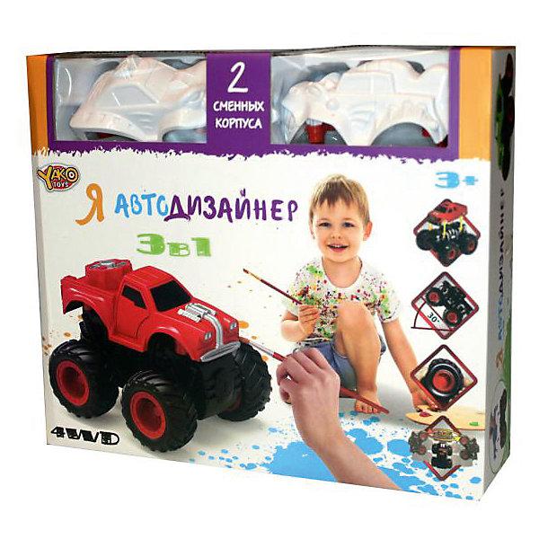 Набор для творчества 3 в 1 Yako Toys Я автодизайнер, M6540-6Наборы для росписи<br>Набор с полноприводной машинкой и 2-мя корпусами под раскраску. В состав набора входит набор красок (5 цветов) на водной основе. 2 кисточки и стаканчик. В состав набора включены 2 сменных корпуса, что позволяет изменить внешний облик игрушки. Смена корпуса производится с помощью нажатия на кнопку, расположенную сзади на базовой части машины.Машина имеет особую конструкцию, предполагающую связь всех 4-х колёс и мощный инерционный механизм. Тип инерционного механизма - фрикционный (т.е. машину можно разогнать сделав несколько поступательных движений, прижимая её к поверхности). При постановке машины на дыбы (вертикально на задних колёсах) она вращается вокруг своей оси. Кроме того, машина снабжена механизмом смены корпуса.<br>Ширина мм: 254; Глубина мм: 66; Высота мм: 220; Вес г: 346; Возраст от месяцев: 36; Возраст до месяцев: 2147483647; Пол: Мужской; Возраст: Детский; SKU: 7226063;