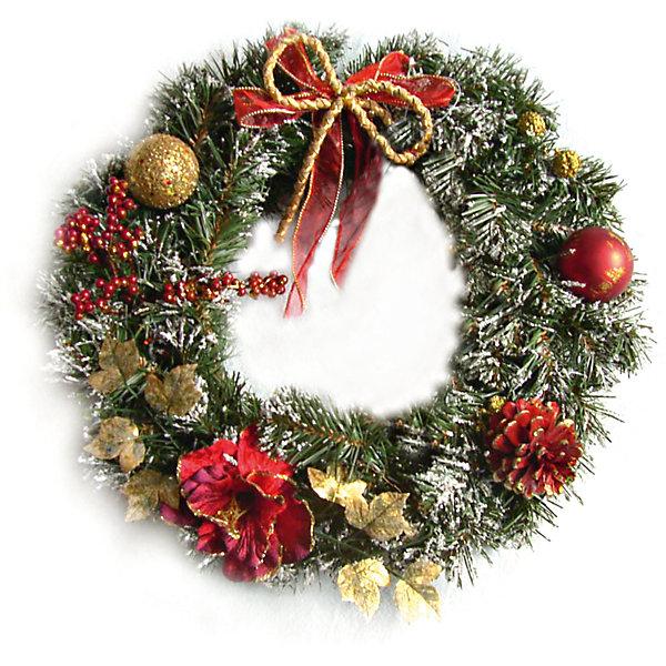 MAG2000 Новогоднее украшение - венок на стену, диаметр 40 см, в полибеге украшение новогоднее елочное иней снегирь диаметр 8 5 см