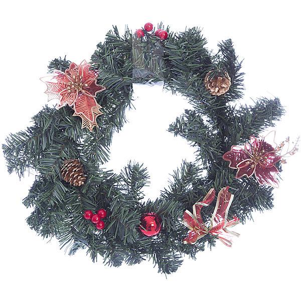 MAG2000 Новогоднее украшение на стену-венок- 40 см, в полибеге украшение новогоднее оконное magic time дед мороз с самоваром двустороннее 30 х 32 см