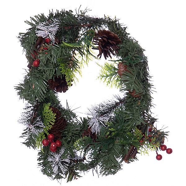 MAG2000 Новогоднее украшение - венок на стену, диаметр 30 см, в полибеге украшение новогоднее елочное иней снегирь диаметр 8 5 см