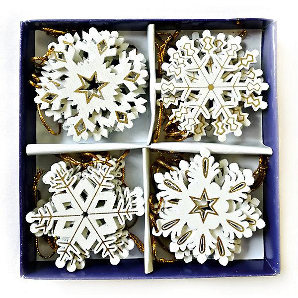 MAG2000 Деревянные новогодние украшения на подвесках - снежинки, 6 см, 24 шт в наборе, картонная коробка с пвх. mag2000 шар диско 20см 1шт в пвх боксе