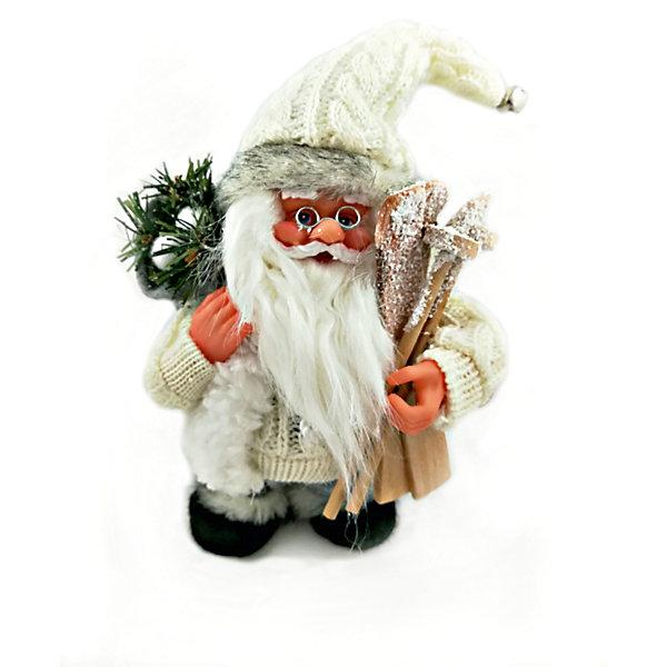 MAG2000 Дед мороз белый с лыжами и подарками, интерактивный музыкальный идущий 18 см, коробка с окошком цена