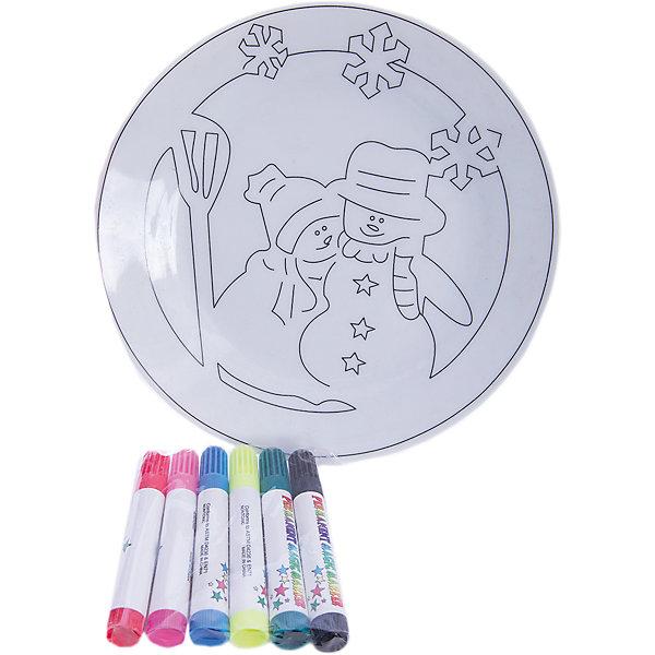 MAG2000 Детский набор для творчества- Тарелочка, 6 фломастеров, 20.8*3.5*20.8 см