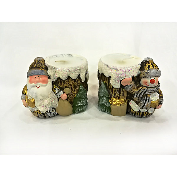 MAG2000 Новогоднее украшение, дед мороз/снеговик-подсвечник со свечей, 8,2*5,8*7,2 см