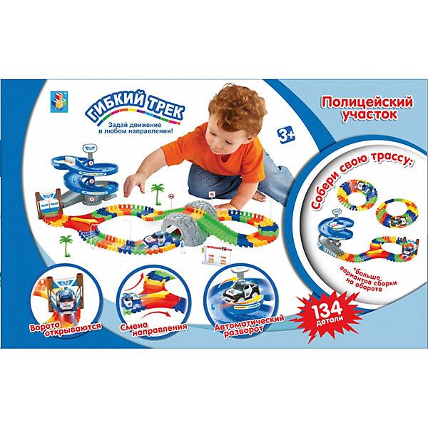 Купить 1 toy гибкий трек Полиция 134 дет, разворот, пещера, дверь, машинка, свет, 48x10x32 см, 1Toy, Китай, Унисекс