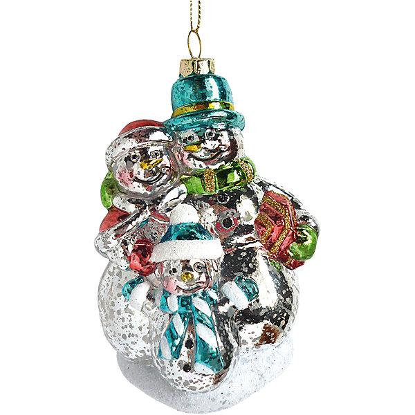 Новогодняя сказка Ел.укр. Снеговики 12 см, пластик украшение декоративное снежинка светящаяся на присоске led 10 см пластик