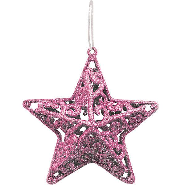 Объемное украшение на елку B&amp;H Звезда 10 см, нежно-розоваяЁлочные игрушки<br>Характеристики товара:<br><br>• возраст: от 3 лет;<br>• упаковка: пакет;<br>• вес: 16 гр.;<br>• количество: 1 шт.;<br>• цвет:нежно-розовый;<br>• высота: 10 см.;<br>• форма: объемная звезда;<br>• материал: пластик;<br>• бренд, страна бренда: B&amp;H;<br>• страна-производитель: Китай.<br><br>Подвеска объемная «Звезда» от торговой марки B&amp;H - оригинальное елочное украшение поможет нарядить и сделать сказочно красивой новогоднюю елку или декор вашего дома. <br><br>Подвеска объемная «Звезда» выполнена из пластика высокого качества, в форме объемной звезды с узорами нежно-розового цвета и покрыта декоративными блестками. С помощью специальной петельки украшение можно повесить  на праздничную новогоднюю елку.<br><br>Елочная игрушка - символ Нового года и Рождества. Она несет в себе волшебство и красоту праздника. Создайте в своем доме атмосферу веселья и радости, украшая новогоднюю елку нарядными игрушками, которые будут из года в год накапливать теплоту воспоминаний. <br><br>Подвеску объемную «Звезда», нежно-розовый с глиттером, 11 см., B&amp;H можно купить в нашем интернет-магазине.<br>Ширина мм: 25; Глубина мм: 100; Высота мм: 100; Вес г: 16; Возраст от месяцев: 36; Возраст до месяцев: 2147483647; Пол: Унисекс; Возраст: Детский; SKU: 7230496;