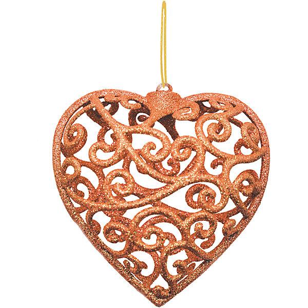 Объемное украшение на елку B&amp;H Сердце 10 см, медноеЁлочные игрушки<br>Характеристики товара:<br><br>• возраст: от 3 лет;<br>• упаковка: пакет;<br>• вес: 23 гр.;<br>• количество: 1 шт.;<br>• цвет:нежно-розовый;<br>• высота: 10 см.;<br>• форма: объемная, сердце;<br>• материал: пластик;<br>• бренд, страна бренда: B&amp;H;<br>• страна-производитель: Китай.<br><br>Подвеска объемная «Сердце» от торговой марки B&amp;H - оригинальное елочное украшение поможет нарядить и сделать сказочно красивой новогоднюю елку или декор вашего дома. <br><br>Подвеска объемная «Сердце» выполнена из пластика высокого качества, в форме объемной звезды с узорами медного цвета и покрытием из декоративных блесток. С помощью специальной петельки украшение можно повесить  на праздничную новогоднюю елку.<br><br>Елочная игрушка - символ Нового года и Рождества. Она несет в себе волшебство и красоту праздника. Создайте в своем доме атмосферу веселья и радости, украшая новогоднюю елку нарядными игрушками, которые будут из года в год накапливать теплоту воспоминаний. <br><br>Подвеску объемную «Сердце», медный с глиттером, 10 см., B&amp;H можно купить в нашем интернет-магазине.<br>Ширина мм: 25; Глубина мм: 100; Высота мм: 100; Вес г: 23; Возраст от месяцев: 36; Возраст до месяцев: 2147483647; Пол: Унисекс; Возраст: Детский; SKU: 7230497;